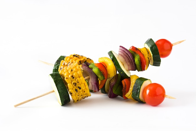 Vegetable skewers isolated