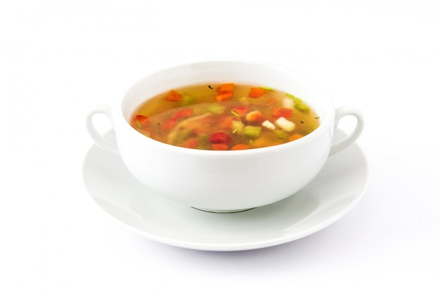 Vegetable soup isolated on white background