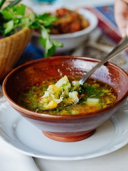 Vegetable soup with broth and herbs inside brown bowl.