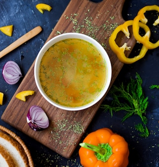 Vegetable soup with sliced yellow paper