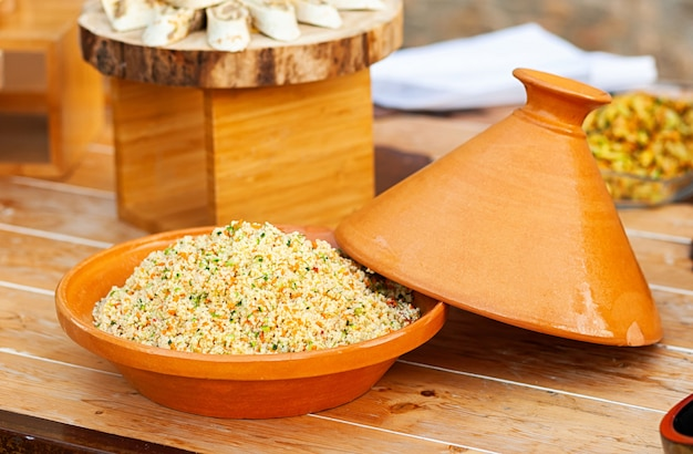 Vegetable tajine with cous cous.