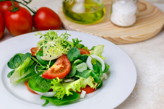 Vegetable variety salad with oil and salt