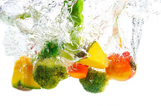 Vegetable in water, contains pumpkin, broccoli, tomatoes, carrots.