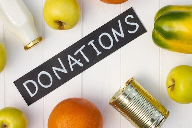 야채와 과일 분필로 기부 기호