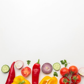 보기 위의 야채 배열