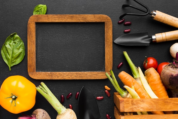 Vegetables arrangement on dark background with frame