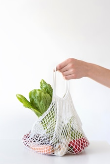 Vegetables arrangement in a textile bag