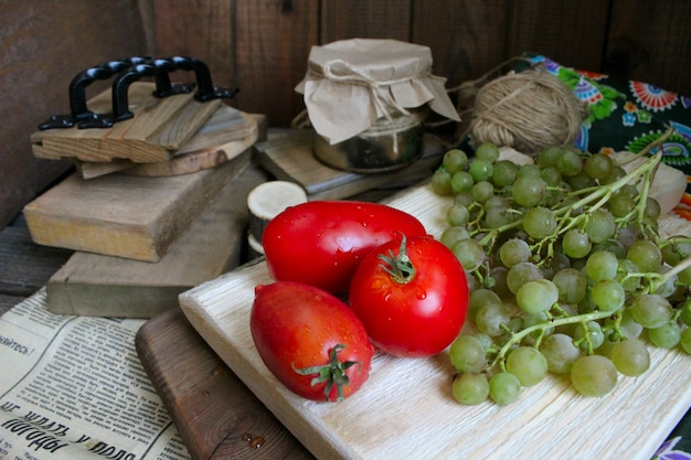 Vegetables autumn grapes rustic tomatoes