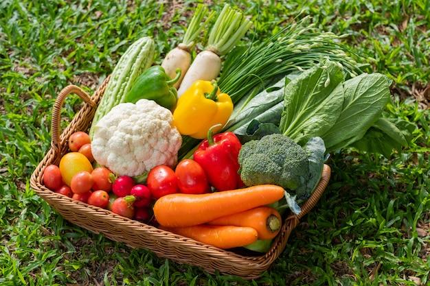 Корзина с овощами на фоне травы
