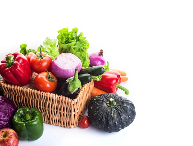 Vegetables on a basket