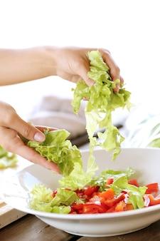 Vegetables being sliced