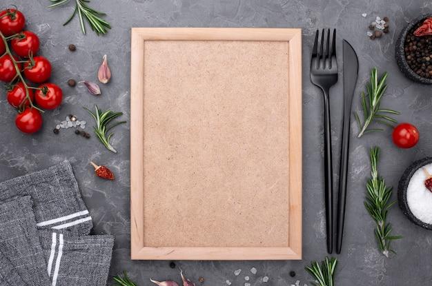 Vegetables beside frame