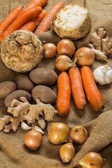 Vegetables on blanket
