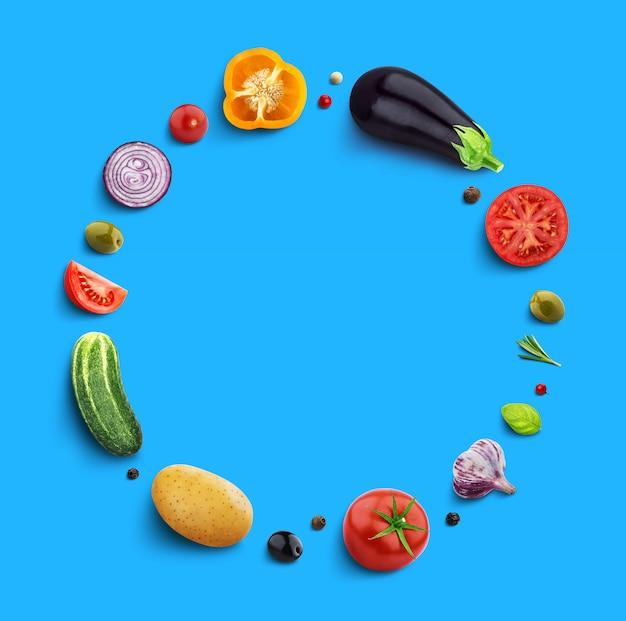 Vegetables on blue