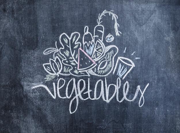 Овощи, нарисованные мелом на доске