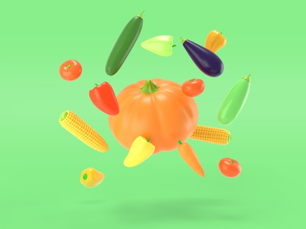 Vegetables flying on a green colored background