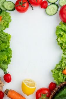 Vegetables frame on white