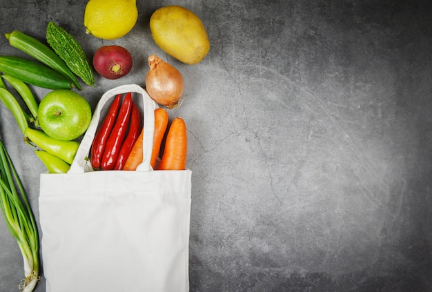 Vegetables and fruit in eco cotton bag