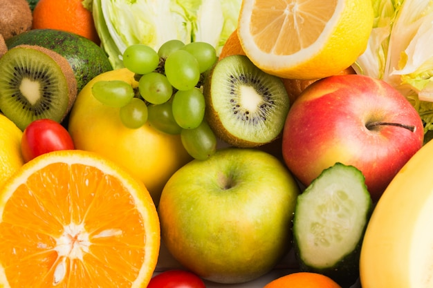 Vegetables and fruits texture background