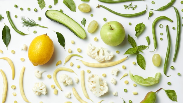 Vegetables and fruits on white surface