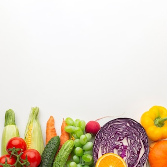 Vegetables and fruits with copy space