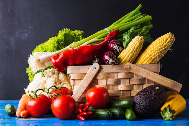 Vegetables and herbs in basket