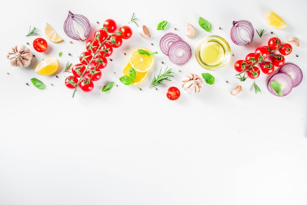 Vegetables and herbs for cooking, top view