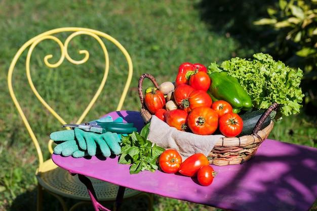 日光の下で庭の野菜