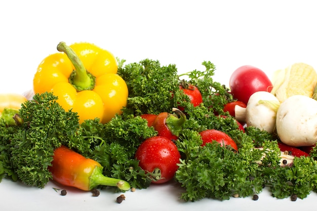 Vegetables isolated. concept of healthy food.