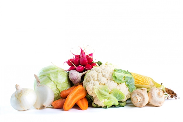 Vegetables isolated on a white space