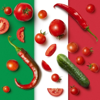 Vegetables on the italian tricolor surface