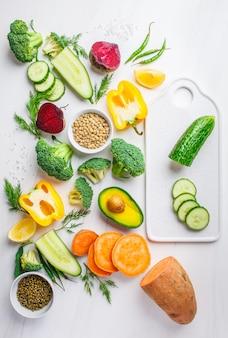 Vegetables, legumes for cooking healthy salad.