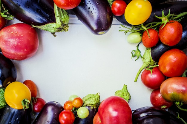 Vegetables. ripe tomatoes and eggplant.