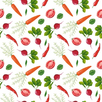 白い背景の上の野菜のシームレスなパターン。ガッシュ大根、唐辛子、トマト、にんじんのプリント。八百屋の背景。