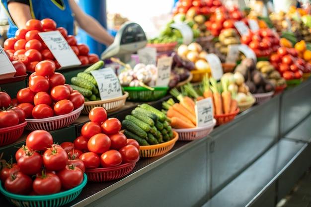 市場で販売されている野菜
