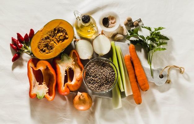 Vegetables and spices on a table