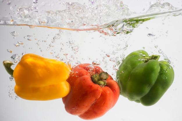 Vegetables splash water