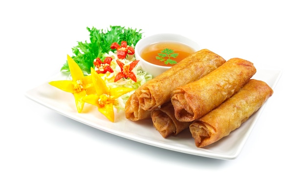 Vegetables spring roll deep fried thai food fusion