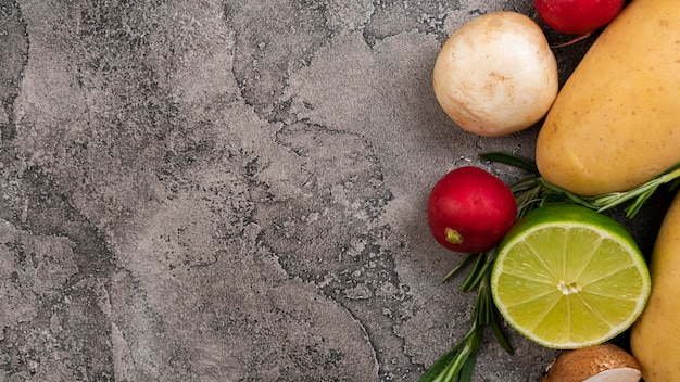 Vegetables on stucco background