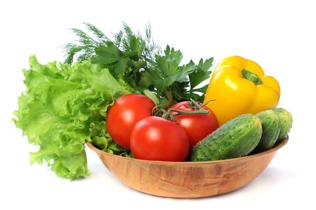 야채-토마토, 오이, 고추 흰색 배경에 고립