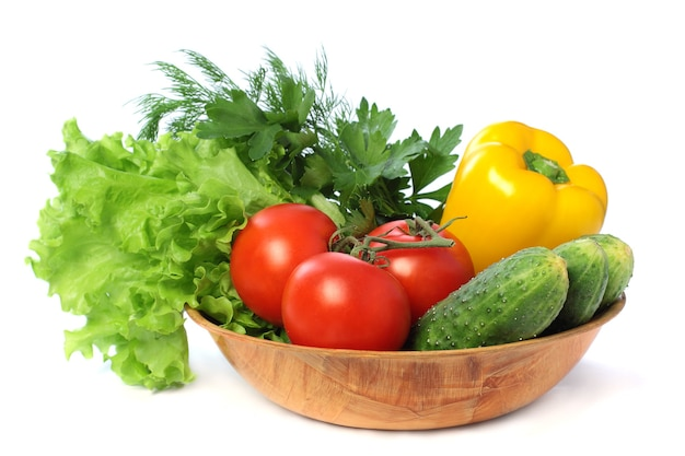 Vegetables - tomato, cucumber, pepper isolated on white background