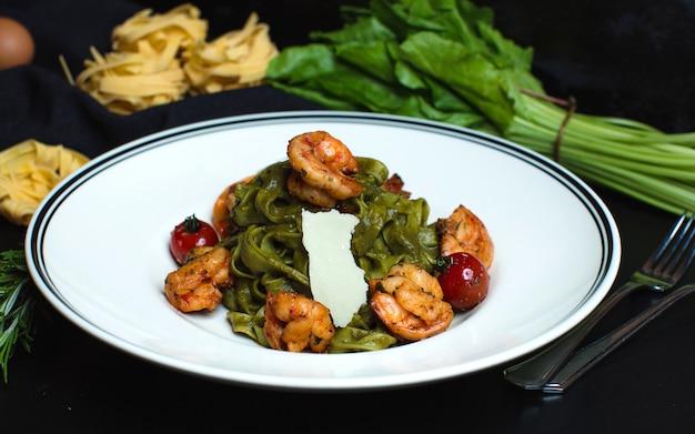 Vegetables with side fried shrimps