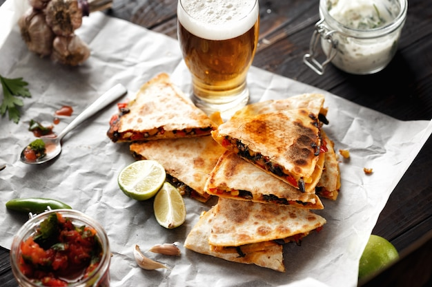 Vegetarian beer snack quesadillah vegetables cheese lager beer