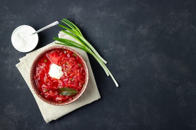 ベジタリアンビートの赤いスープ