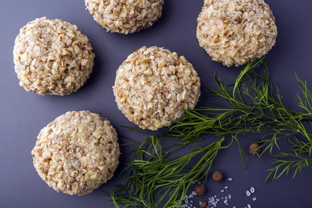 Vegetarian buckwheat cutlets or meatballs