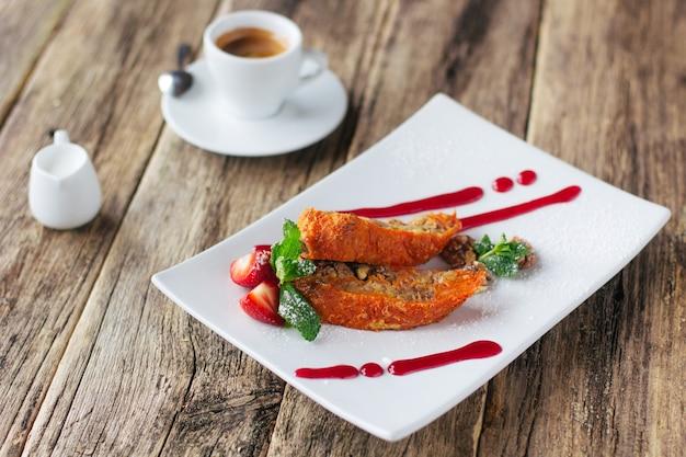 Vegetarian dessert. carrot apple roll with coffee