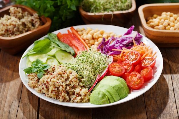 Вегетарианская пища. тарелка здорового салата с авокадо, киноа, помидорами, перцем, шпинатом, капустой, ростками и нутом