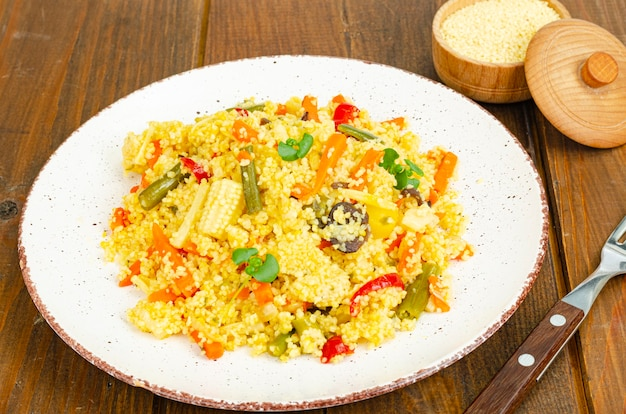 Vegetarian menu. couscous dishes with vegetables