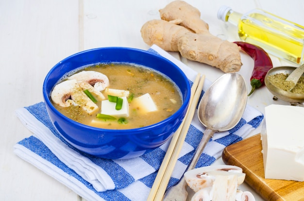 Vegetarian miso soup with tofu and mushrooms.