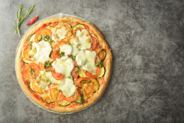 Vegetarian pizza. cooking process of vegetable homemade pizza.